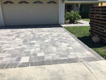this is an image of a stamped concrete driveway in Orinda, California.